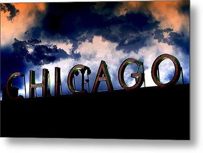 Chicago Sign Sunset Metal Print by Kristie  Bonnewell