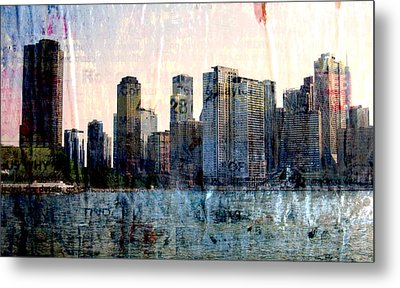 Chicago Skyline 1 And Painted Newspaper Metal Print
