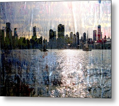 Chicago Skyline 2 And Painted Newspaper Metal Print
