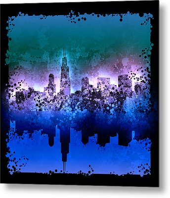Chicago Skyline Abstract 2 Metal Print by Bekim Art