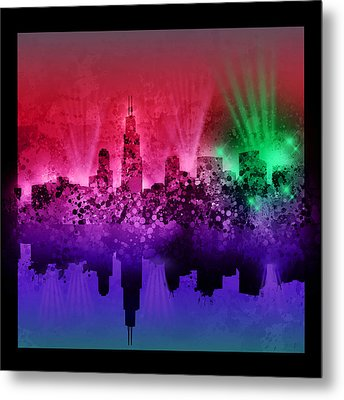 Chicago Skyline Abstract 4 Metal Print by Bekim Art
