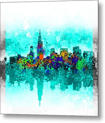 Chicago Skyline Abstract Metal Print by Bekim Art