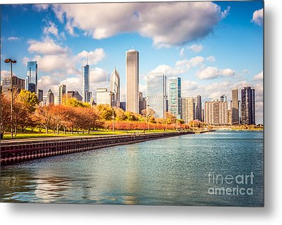 Chicago Skyline And Lake Michigan Photo Metal Print by Paul Velgos
