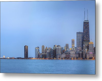 Metal Print featuring the photograph Chicago Skyline And Navy Pier by Shawn Everhart