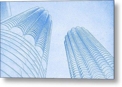 Chicago Skyline Architecture Marina Towers Blueprint Metal Print