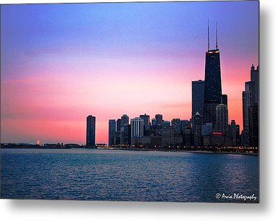 Chicago Skyline At Lake Michigan Metal Print