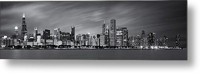 Chicago Skyline At Night Black And White Panoramic Metal Print