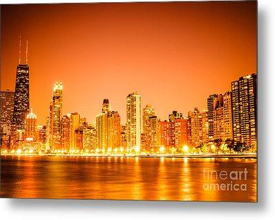 Chicago Skyline At Night With Orange Sky Metal Print