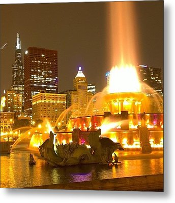 Chicago Skyline At Night With Metal Print by Paul Velgos