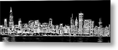 Chicago Skyline Fractal Black And White Metal Print by Adam Romanowicz