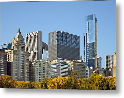 Chicago Skyline From Millenium Park II Metal Print by Christine Till