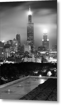 Chicago Skyline From The Rooftop - Black And White Metal Print by Gregory Ballos