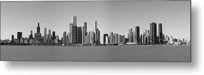 Chicago Skyline In Shades Of Grey Metal Print by Georgia Fowler