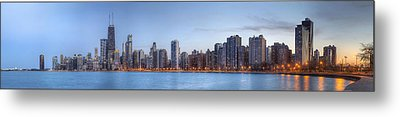 Metal Print featuring the photograph Chicago Skyline Night Panorama by Shawn Everhart