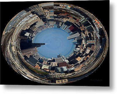 Chicago Skyline Polar View Metal Print by Thomas Woolworth