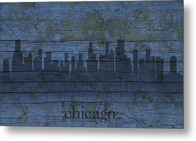 Chicago Skyline Silhouette Distressed On Worn Peeling Wood Metal Print