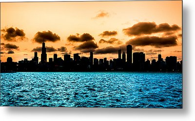 Chicago Skyline Silhouette Metal Print