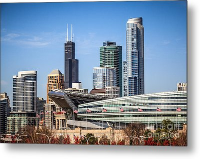 Chicago Skyline With Soldier Field And Sears Tower  Metal Print by Paul Velgos