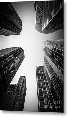 Chicago Skyscrapers In Black And White Metal Print