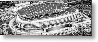 Chicago Soldier Field Aerial Panorama Photo Metal Print