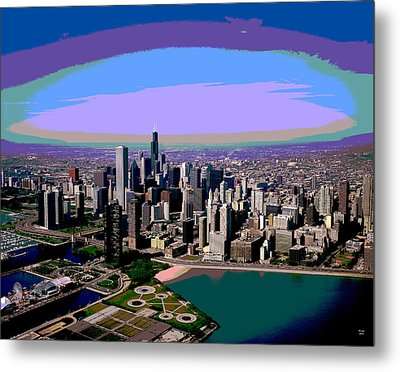 Chicago Sunset Metal Print by Charles Shoup