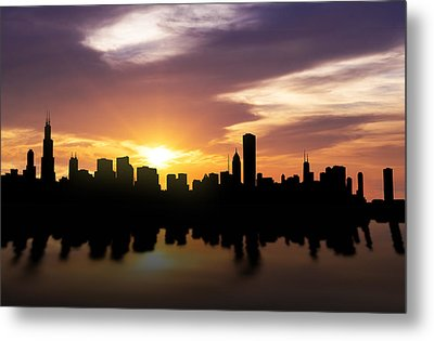 Chicago Sunset Skyline  Metal Print by Aged Pixel