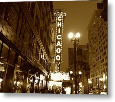 Metal Print featuring the photograph Chicago Theatre by Alan Lakin