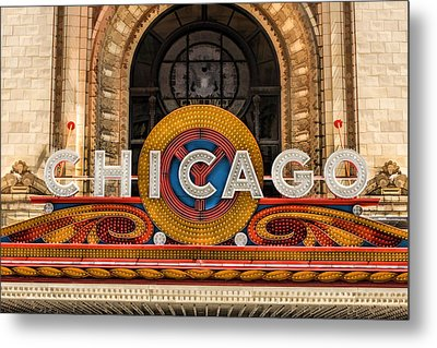 Chicago Theatre Marquee Sign Metal Print by Christopher Arndt
