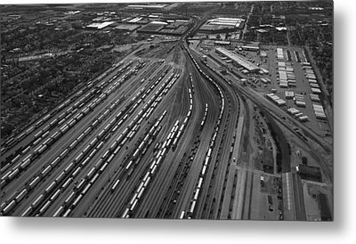 Chicago Transportation 02 Black And White Metal Print by Thomas Woolworth