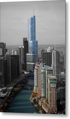 Chicago Trump Tower Blue Selective Coloring Metal Print