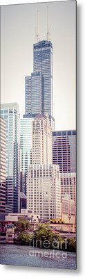 Chicago Vertical Panorama Of Sears Willis Tower Metal Print