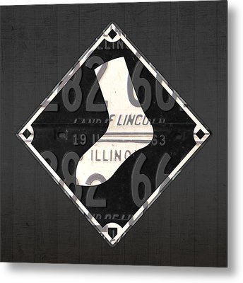 Chicago White Sox Baseball Vintage Logo License Plate Art Metal Print