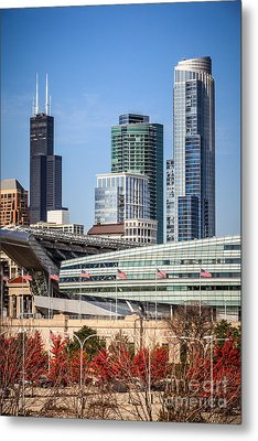 Chicago With Soldier Field And Sears Tower Metal Print