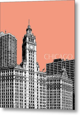Chicago Wrigley Building - Salmon Metal Print by DB Artist