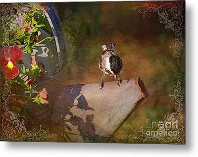 Chickadee Flower Pot Metal Print by Debbie Portwood