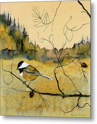Chickadee In Dancing Pine Metal Print
