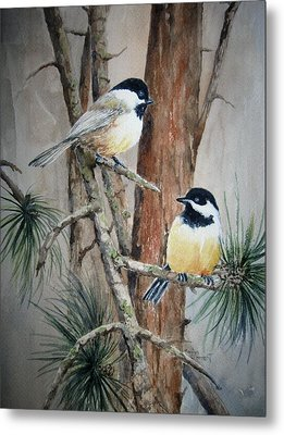 Chickadee Pair Metal Print