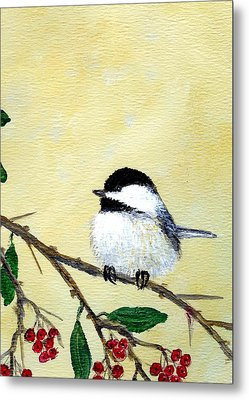 Chickadee Set 4 - Bird 2 - Red Berries Metal Print