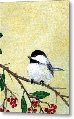 Chickadee Set 4 - Bird 2 - Red Berries Metal Print by Kathleen McDermott