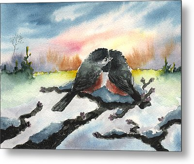 Chickadee Sunset Snuggle Metal Print by Sean Seal