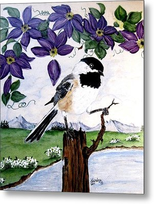 Chickadee With Blue Clematis Metal Print by Sandra Maddox