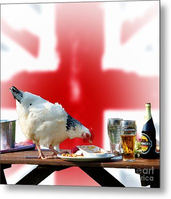 Chicken For Lunch Metal Print by Michelle Orai