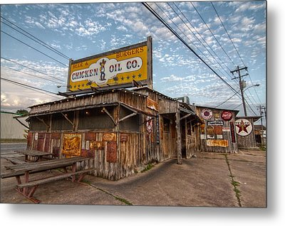 Chicken Oil Company Metal Print by Linda Unger