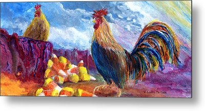 Metal Print featuring the painting Chickens And Candy Corn by Lenora  De Lude