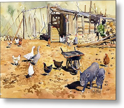Chickens Geese And Little Pigs Metal Print by Margaret Merry