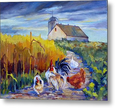 Chickens In The Cornfield Metal Print by Peggy Wilson