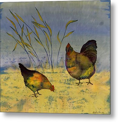 Chickens On Silk Metal Print by Carolyn Doe