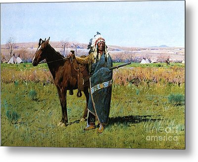 Chief Spotted Tail Metal Print by Pg Reproductions
