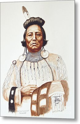 Chief Wolf Necklace Metal Print