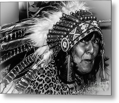 Chiefess Headress Metal Print by Michael Canning